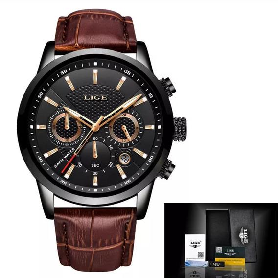 Relógio Masculino Lige Luxo Pulseira De Couro Black Friday