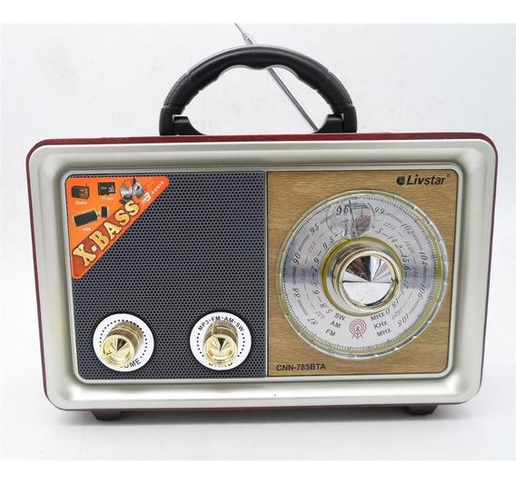 Radio Portatil Bluetooth Am Fm Com Controle Vintage Retro