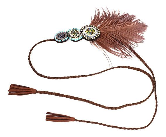 Lady Woman Feather Headband Bohemian Headdress Wedding Party
