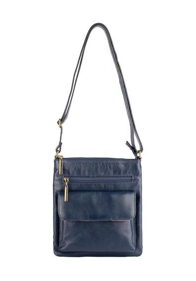 Bolsa Pequena Tiracolo De Couro Legítimo Alana Azul