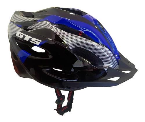 Capacete Com Sinalizador De Led Ciclismo Bike Azul Gts