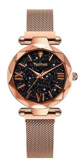 Relógio Feminino De Pulso Céu Estrelado Barato Magné