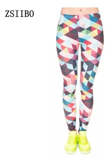 Leggings Coloridos Triangulos 3d Moda 2018 Gym