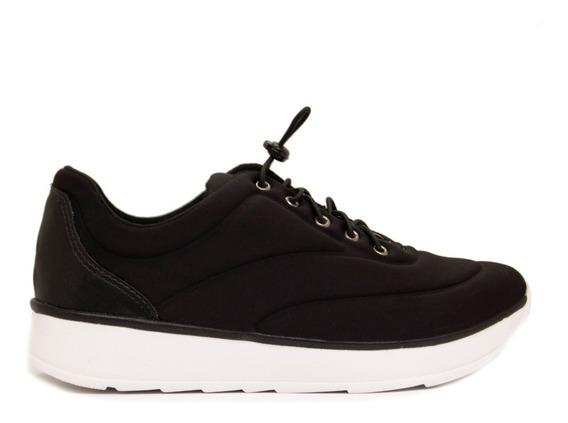 Zapatillas Mujer Lycra Negro Base Blanca Cordones Elásticos