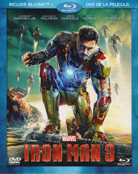 Iron Man 3 Tres Robert Downey Jr Pelicula Blu-ray + Dvd
