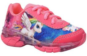 Tenis Infantil Feminino Unicornio Pink Com Luz