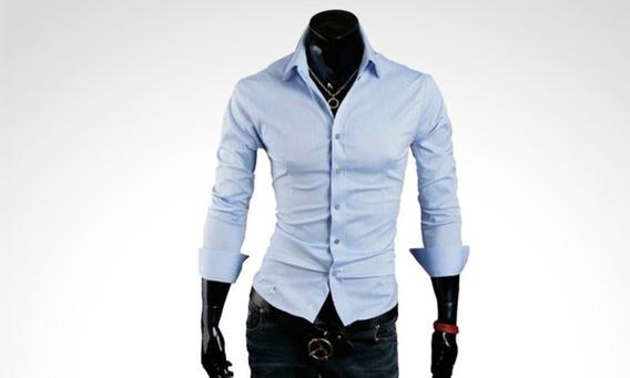 Pack X 4 Camisas Entalladas Slim Fit Para Hombre De Diseño