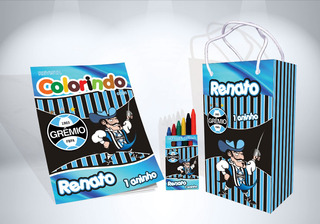 50 Kit De Colorir Gremio Revista Sacola Giz Lembrança