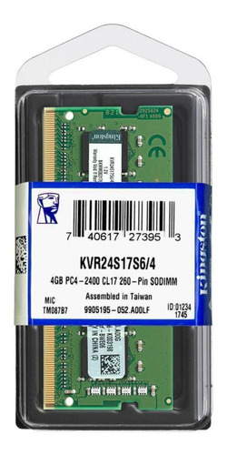 Memória Ram 4gb Ddr4 2400mhz Kvr24s17s6/4 Kingston