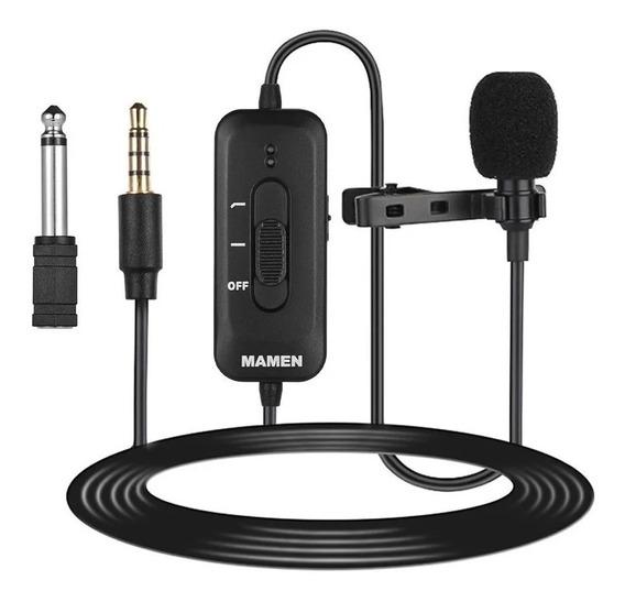 Microfone De Lapela Mamen Km-d2 - Para Câmeras E Celular