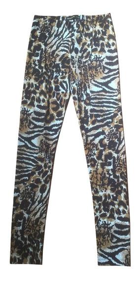 Calzas Leggings Animal Print Nuevas Marron