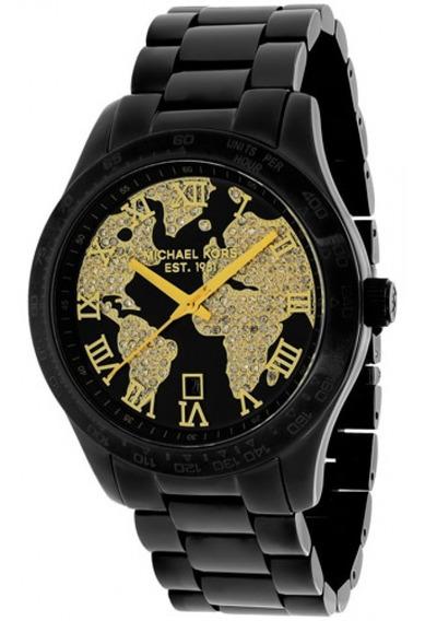 Relógio Michael Kors Mk6061 Layton Preto Dourado Original