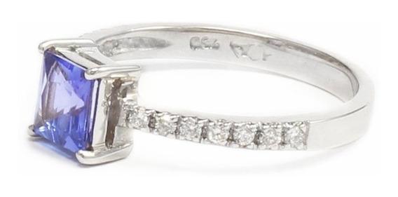 Anel Tanzanita Quadrada E E Diamantes
