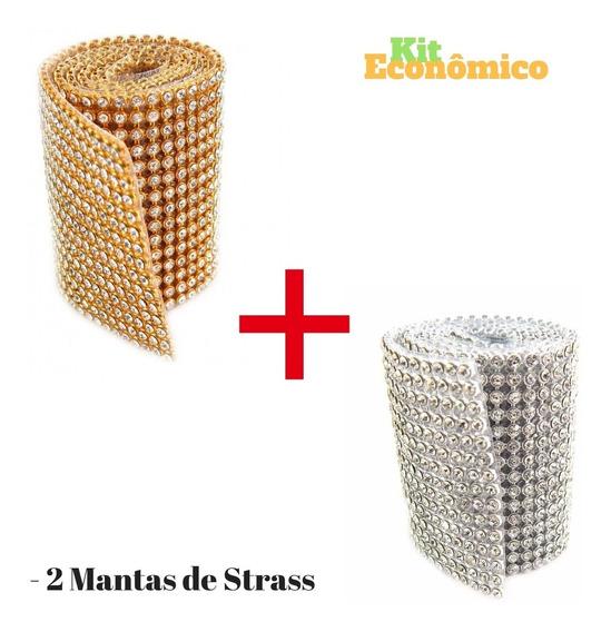 2 Manta De Strass 7 Cm X 45 Cristal 100 % Original Tamanho
