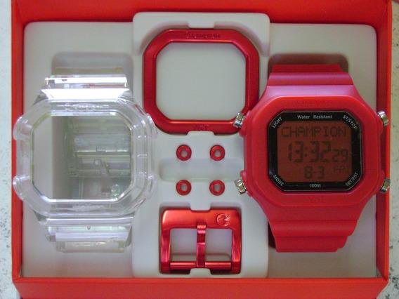 Relógio Cp40180x Champion Yot Original Transparente Vermelho