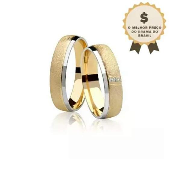 Linda E Delicada Par De Alianças Com Diamantes