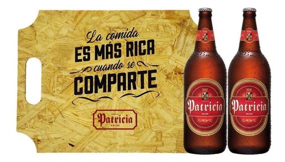 Cerveza Patricia 1lt X2 + Bandeja De Madera