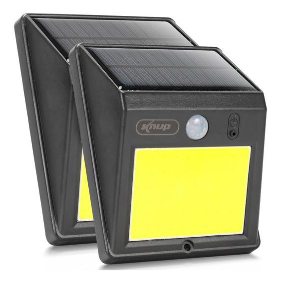 Kit 2 Luminaria Solar Arandela 60 Leds Cob Sensor Presença