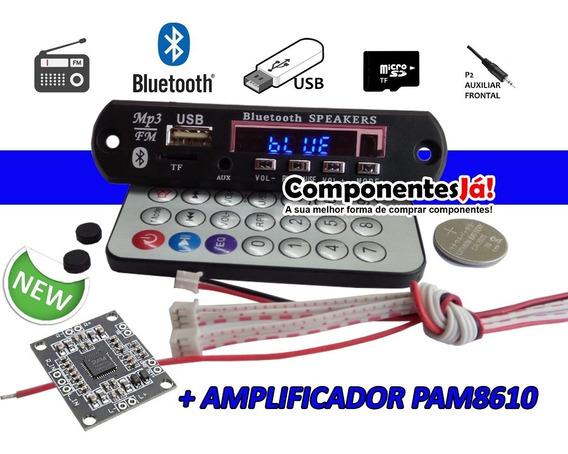 Placa Leitor De Usb Mp3 / Fm / Bluetooth / C. Remoto + Fonte