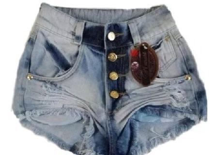 Shorts Destroyed Hot Pant Cintura Cós Alta Jeans Caramelo