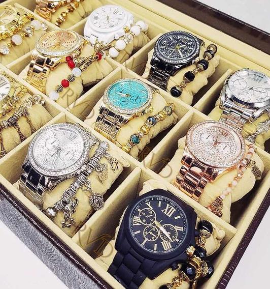Kit 10 Relógio Feminino Luxo Mostrador Gnd Pulseira Atacado