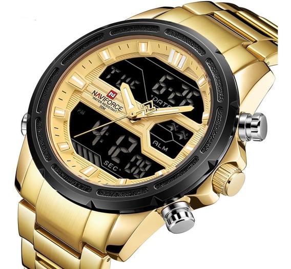 Relógio De Luxo Quartzo E Display Naviforce