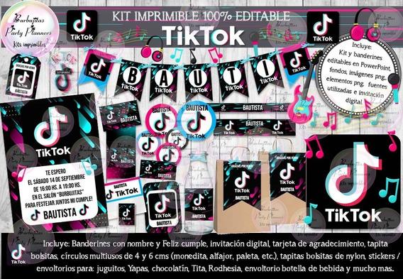 Kit Imprimible Candy Bar Tik Tok Tiktok 100% Editable