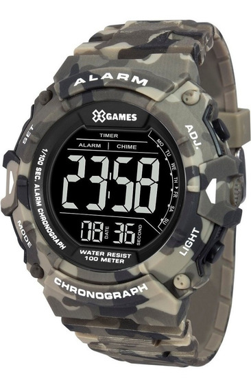 Relógio Masculino X-games Camuflado Verde Xmppd488 Pxep
