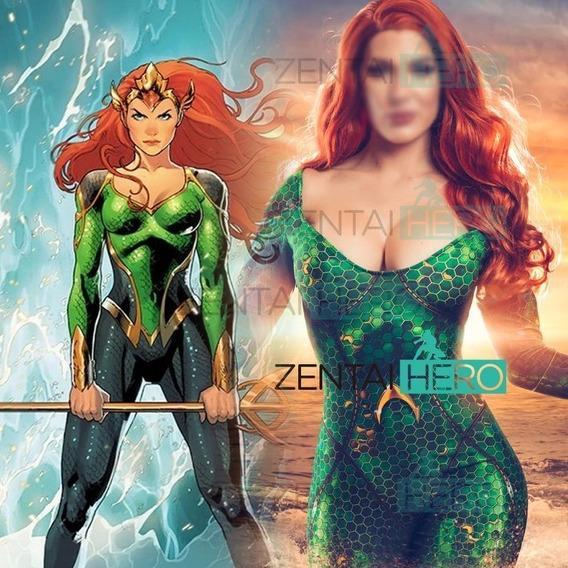 Disfraz Mera Aquaman Niña Fiesta Halloween Sexy Escotado