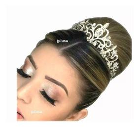 Coroa Noiva Tiara 15 Anos Debutante Prata Casamento Dama