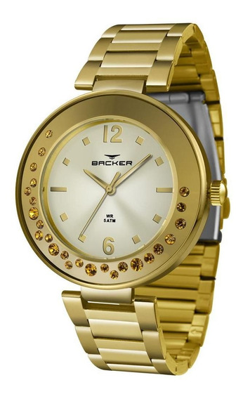 Relógio Backer Feminino Ref: 12041145f Ch Fashion Dourado
