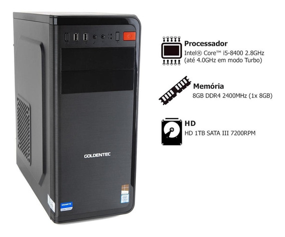 Pc Goldentec P-ggtw10 Com Core I5-8400 2.8ghz 8gb 1tb Win 10