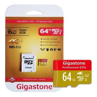 Memoria Microsd 64gb U3 Gigastone Para Gopro Hero 4/5/6/7 4k