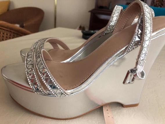 Zapatos Fiesta Plateados Con Brillos Hermosooss!!!