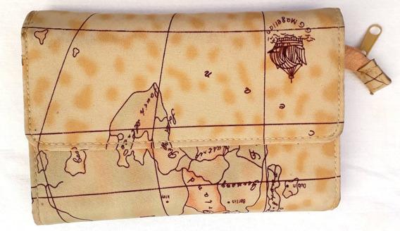 Billetera Monedero Mujer Sintetico Mapamundi 11x15cm Cerrado