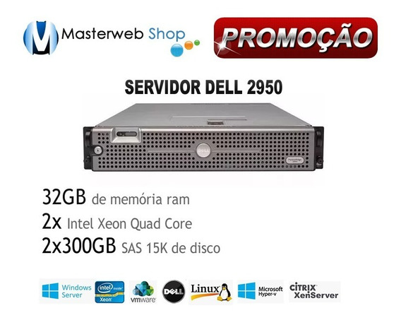 Servidor Dell Poweredge 2950 - 2x Quad -32gb -2xhd Sas300gb