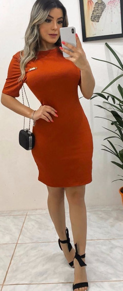 Vestido Feminino Canelado Médio Tendência Verão 2020