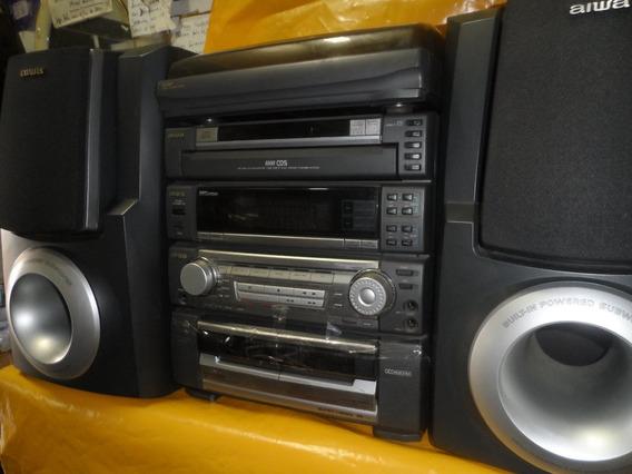 Micro System Aiwa Cx-zr997 C/ T.disco - 5 Cds - Som Possante