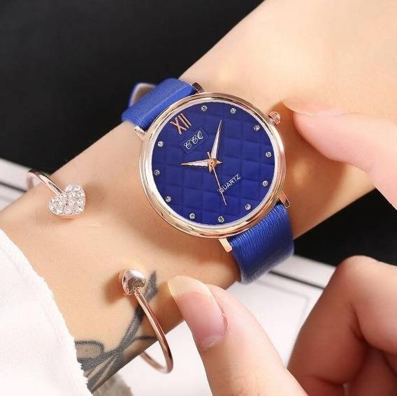 Reloj División A Cuadros Azul Extensible Piel Sintética
