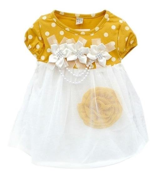 Vestido De Bebe Menina, Em Malha Fria Busto E Tule Na Saia