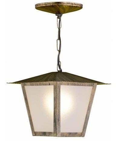 Luminária Pendente Colonial 32cm Quadrada L2c Ouro Velho