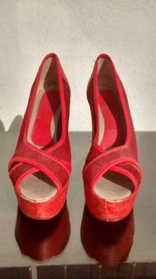Zapatos Con Taco Y Plataforma Gamuza Rojo