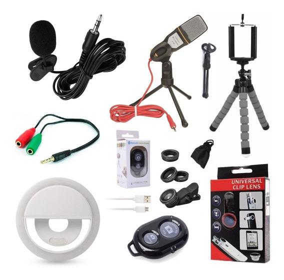 Kit Youtuber 7x1 Microfone Mesa + Tripé Flash Lapela Celular