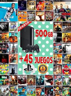 Ps3 Playstation 3 Slim 500 Gb + 45 Juegos