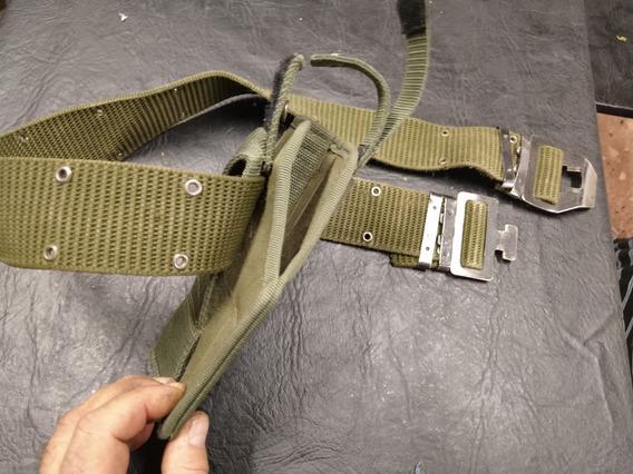 Cinturón Militar M1 Con Pistolera Verde Airsoft