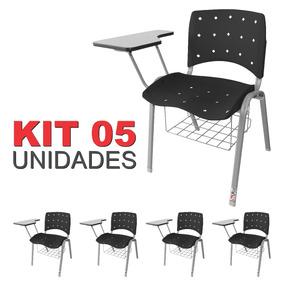 Kit 05 Universitária Ergoplax Iso C/ Porta Livros Preta