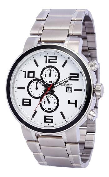 Relógio Backer Masculino 11003653m Br Cronógrafo Prateado