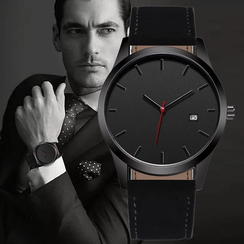 Reloj Fechero Analogo Hombre Caballero Cuero Ilusion Of Time