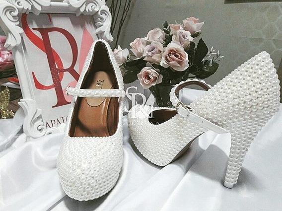 Sapato De Noiva / Casamento Com Fecho Perolas