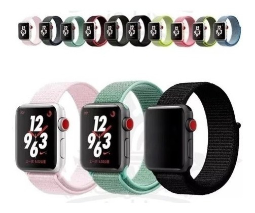 Kit 3 Pulseiras Nylon Loop Para Apple Watch
